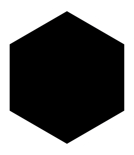svart hexagon